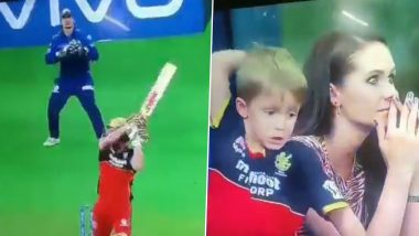 AB de Villiers' Son Expresses Disappointment After Father's Dismissal During RCB vs MI IPL 2021 Clash, Ends Up Hurting Himself (Watch Video)