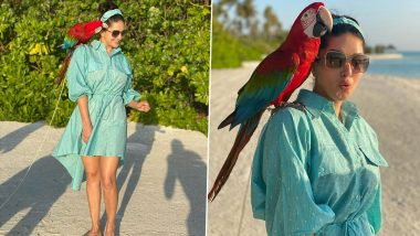 Sunny Leone Looks Pretty In a Powder Blue Flared Shirt Dress, Shares Stunning Pics With a 'Naughty Macaw' From Her Maldives Vacay (See Photos)
