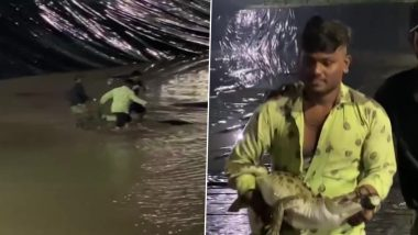 Gujarat: Crocodile Rescued by Wildlife Rescue Trust Workers & Forest Officials From Atificial Pond in Vadodara (View Pics)