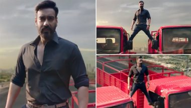 Ajay Devgn Recreates His Iconic Phool Aur Kaante Stunt With Trucks and We Are Curious To Know What's It For! (Watch Video)