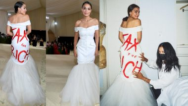 Alexandria Ocasio-Cortez's Met Gala 2021 Gown With 'Tax the Rich' Political Message Goes Viral