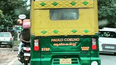 'Paulo Coelho The Alchemist' Caption Seen Written in Malayalam on Autorickshaw in Kerala, Author Thanks India For The Viral Photo