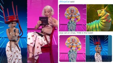 Doja Cat Funny Memes Go Viral After American Rapper Wears Chair As Hat, a Worm Dress & More in Series of Bizarre Outfits at VMAs 2021