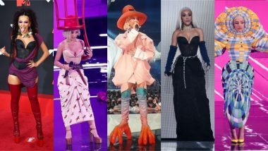 Every Outfit Doja Cat Wore at VMAs 2021: From 'Chair Hat' To 'Worm Dress,' a Look at American Rapper's Wild Looks at MTV Video Music Awards