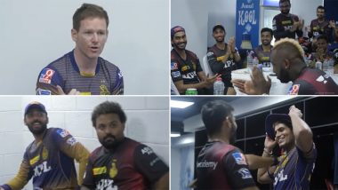 IPL 2021: Kolkata Knight Riders Celebrate Victory in the Dressing Room After Outplaying Royal Challengers Bangalore (Watch Video)