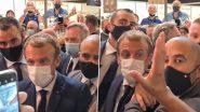 France: Egg Thrown at President Emmanuel Macron During Visit to Lyon (Watch Video)