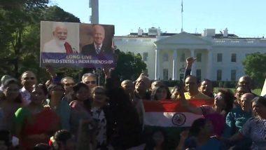 Narendra Modi-Joe Biden Bilateral Meeting: Members of Indian Community Gather Outside White House Ahead of Indian PM's Arrival (Watch Video)