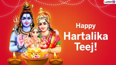 Hartalika Teej 2021 Messages & HD Images: WhatsApp Wishes, Shiva-Parvati HD Wallpapers, Facebook Status, Greetings and SMS To Send on Hindu Festival