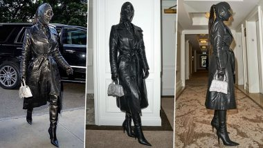 Kim Kardashian Opts for a Head-to-Toe Leather Outfit by Balenciaga in NYC; Not To Miss Her Face Mask (View Pics)