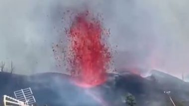 La Palma Volcano: Volcano Erupts in Spain's Canary Islands, Releases Fountains of Lava, Ash in the Air (Watch Video)