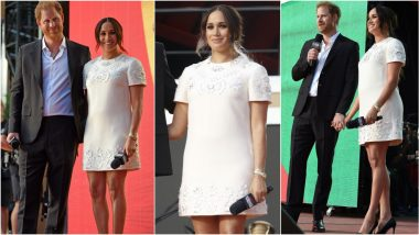 Meghan Markle Picks Chic Valentino Mini Dress for Global Citizen Live Concert, Poses Gleefully With Prince Harry by Her Side (View Pics)