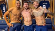 Lionel Messi Poses for a Shirtless Picture With Neymar Jr and Kylian Mbappe After Taking PSG to 2-0 Win Against Manchester City in UCL 2021-22 Match  (See Pic)