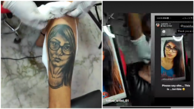 Mia Khalifa's Indian Fan Tattoos Her Face on His Leg, Sexy OnlyFans Star Finds It 'Terrible' (Watch Video)