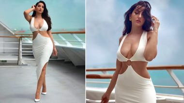 Nora Fatehi Is a Total Bombshell in a White Bodycon Dress With Thigh-High Slit (View Pics)
