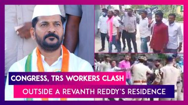 Congress, TRS Workers Clash Outside A Revanth Reddy's Residence In Hyderabad