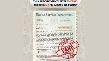 Fake Appointment Letter by Excise Ministry Stating Appointment of Candidate for Post of Field Distribution Officer Goes Viral, PIB Fact Check Reveals Truth