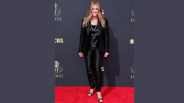 Rita Wilson Shines Bright in Her Glittery Black Outfit at Emmys 2021