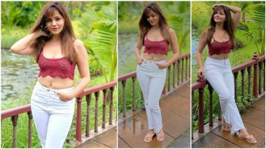 Rubina Dilaik Looks Sexy as Hell in Crochet Bralette and White Denim Posing at Picturesque Location (View Pics)