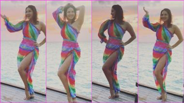 Sunny Leone Feels Her Colourful One-Shoulder Dress Is 'Perfect Dress for an Island Getaway', Shares Pics