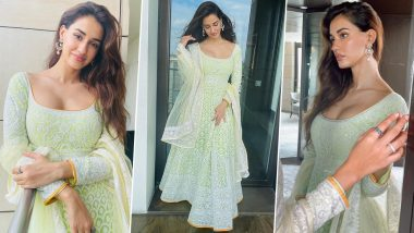 Disha Patani Looks Fresh as Daisy in a Subtle Coloured Traditional Outfit (View Pics)