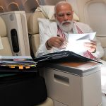 PM Narendra Modi Shares Picture from US-bound 'long Flight', Says 'Opportunities to Go Through Papers and Some File Work' (View Pic)