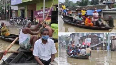 West Bengal Rains: People Use Boats Amid Heavily Waterlogged Streets of Ghatal Subdivision in West Midnapore (Watch Video)