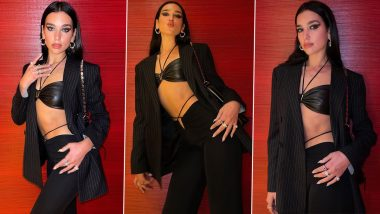 Midriff Flossing Done Right! Dua Lipa Flashes Six-Pack Abs in All-Black Ensemble (View Pics)