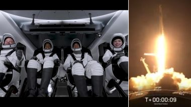 SpaceX Launches Inspiration4: Rocket With Four Civilians Launched into Earth's Orbit as Part of Historic All-Civilian Space Mission (Watch Video)