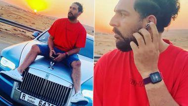 Yuvraj Singh Enjoys Sunset While Grooving to Music on Top of Rolls Royce's Bonnet (See Pics and Video)
