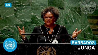 Barbados PM Mia Amor Mottley UNGA Speech 2021: If We Can Go to Moon or Solve Male Baldness, Then We Can Solve Simple Problems Like Letting People Eat