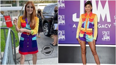 Fashion Faceoff: Zendaya or Jessica Chastain, Who Nailed This Moschino Colour Block Dress Better?