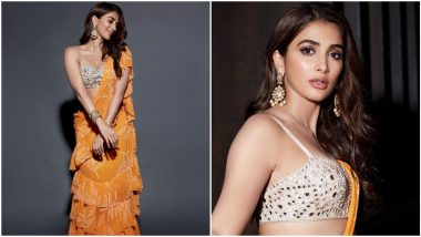 Yo or Hell No? 'Radhe Shyam' Actress Pooja Hegde's Orange Ruffled Saree by Arpita Mehta
