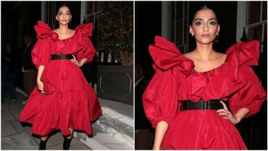 Sonam Kapoor Takes the Drama a Notch Higher With Her Red Hot Alexander McQueen Dress (View Pics)