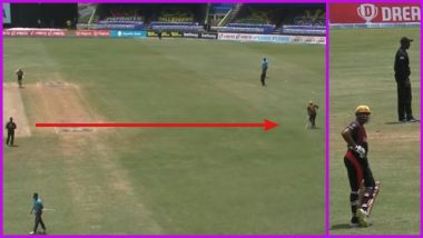 Kieron Pollard Protests in a Unique Way Against Umpire Who Denied Trinbago Knight Riders a Wide Ball During CPL 2021 Match (Watch Video)