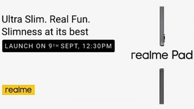 Realme Pad To Be Launched in India on September 9, 2021