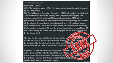 CBSE To Prepare Question Papers for Class 9 & Class 11 Final Examinations? PIB Fact Check Debunks Fake Claims, Reveals Truth