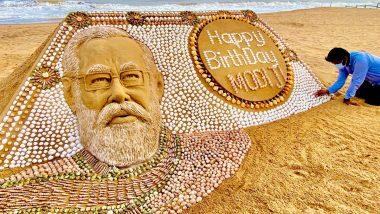PM Narendra Modi Birthday: Sand Artist Sudarsan Pattnaik Creates Sand Art Wishing Prim Minister on His 71st Birthday (See Pic)