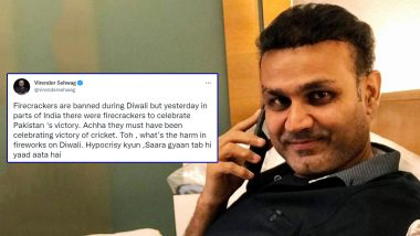 Virender Sehwag Lashes Out at 'Hypocrites' After Reports of Fireworks Being Used in India To Celebrate Pakistan's Win Surfaced at the End of IND vs PAK T20 World Cup 2021 Clash (Check Post)