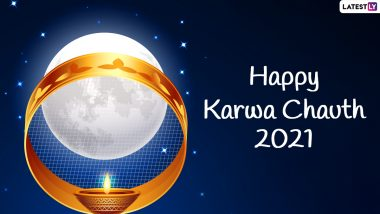 Happy Karwa Chauth 2021 Greetings for Wife & Husband: WhatsApp Stickers, Facebook Messages, GIFs, Wallpapers, Instagram Stories, Telegram Photos and Chand Pics To Celebrate Karva Chauth