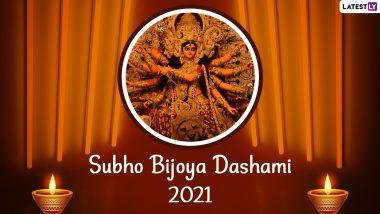 Subho Bijoya Dashami 2021 Wishes, Images and Wallpapers: Send Messages, Sindoor Khela Pics, Happy Vijayadashami Bengali Greetings, WhatsApp Stickers, GIFs & Telegram Photos on Durga Visarjan