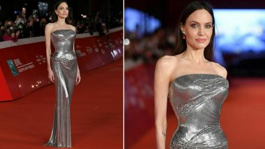 Angelina Jolie Is a Goddess in Silver Metallic Dress As She Sparkles on the Eternals Red Carpet Premiere in Rome! (View Pics)