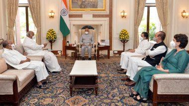 Lakhimpur Kheri Violence: Congress Delegations Led by Rahul Gandhi Meets President Ram Nath Kovind, Seeks Probe by Supreme Court Judges, Removal of MoS Ajay Mishra Teni
