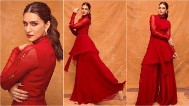 Kriti Sanon in Asymmetrical Peplum Kurta with Palazzo Pants Screams Comfy Festival Look, View Adipurush Actress' Pics in Red!