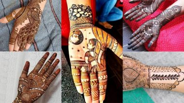 Latest Mehndi Designs for Karwa Chauth 2021: Easy Arabic Mehandi Designs and Beautiful Indian Henna Patters To Apply on Hand for Karva Chauth Vrat Day (Watch Videos)