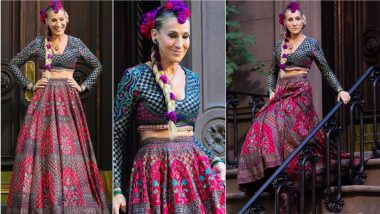 Sarah Jessica Parker Aka Sex and the City's Carrie Bradshaw Looks Delightful in Pink and Blue Lehenga at 'And Just Like That…' Sets (View Pics)
