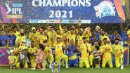 MS Dhoni Hands Over IPL 2021 Trophy to Teammates As CSK Celebrates Fourth IPL Title Win (Watch Video)