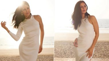 Katrina Kaif Shares Stunning Pictures of Herself in a White Gown With a Thigh-High Slit in a Beach! (View Pics and Video)