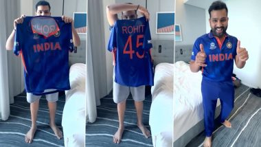 Rohit Sharma Jumps Into His New Team India Jersey in Style Ahead of T20 World Cup 2021 Practice Match vs England (Watch Video)