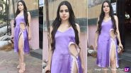 Urfi Javed Sports Another Bizarre Outfit, a Lilac Slip Dress With Sexy Cut-Out and Hip-High Slit To Visit Fancy Mumbai Restaurant (View Pics)