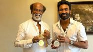 Rajinikanth and Dhanush Pose With Their Respective Medals Received at the Dadasaheb Phalke Award Event (View Pic)